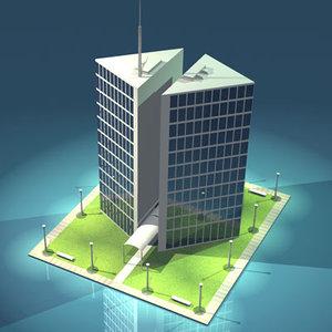 br4 stilized city office building
