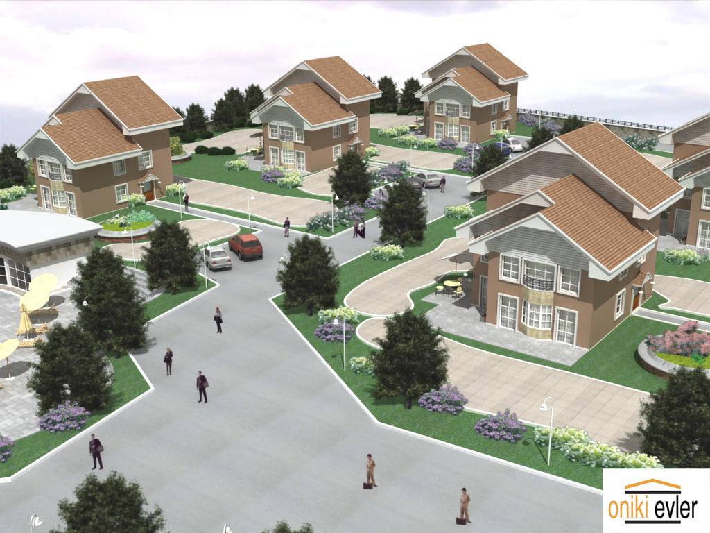 3d max villa city houses