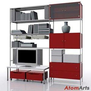 living room storage ikea 3d model