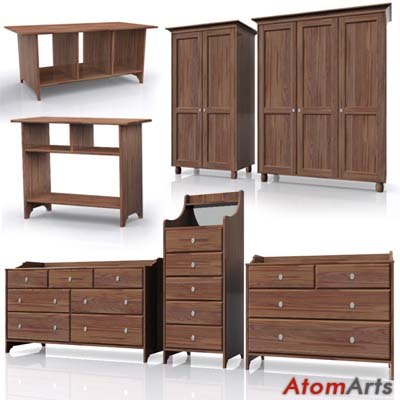 ikea leksvik bedroom furniture 3d model