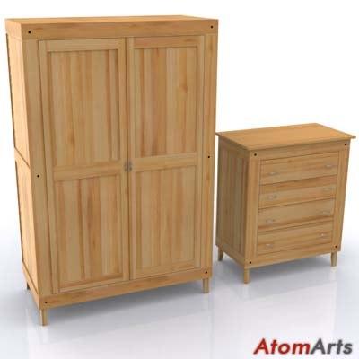 bedroom storage ikea stranda 3d model