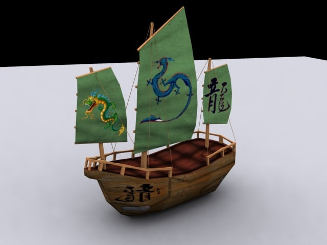 chinese sailing boat junk 3ds
