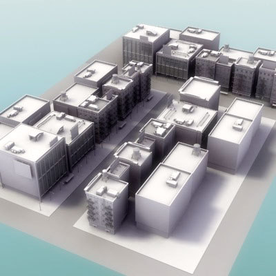 3d model city street buildings
