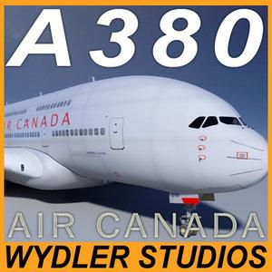 airbus a380 air canada 3d model