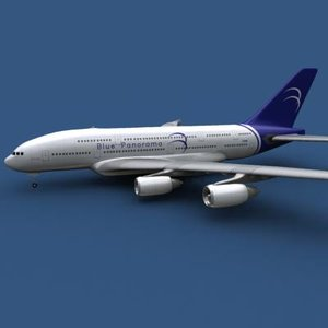3d airbus a380-800 blue panorama