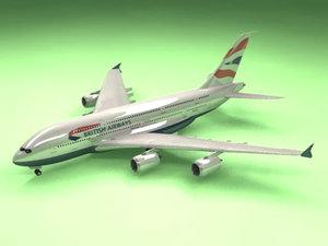 3d model airbus a380 british airways
