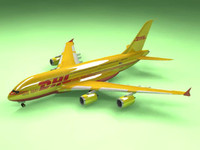 airbus a380 dhl airliner 3d 3ds