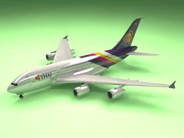 airbus a380 thai airliner c4d