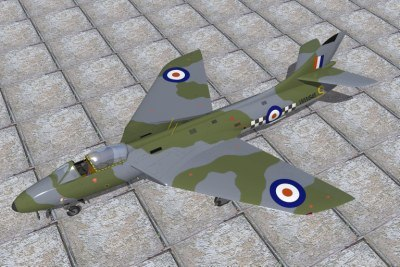 3d model hawker hunter jet fighters