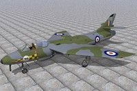 hawker hunter jet fighters 3d c4d