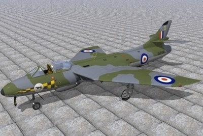 hawker hunter jet fighters 3d c4d