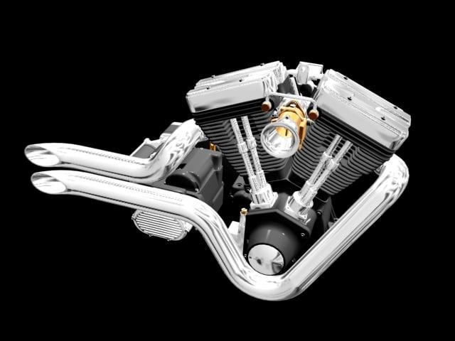 v-twin motor 3d model