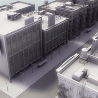 3d model city buildings road