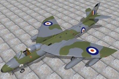 3d hawker hunter jet fighters model