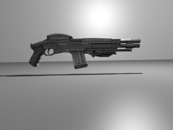 cool futuristic shotgun obj free
