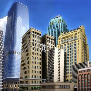 set buildings skyscrapers 3d model