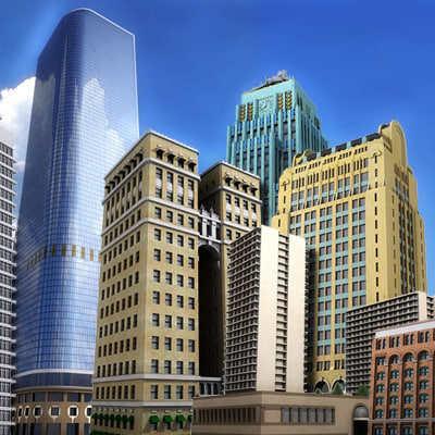 set buildings skyscrapers 3d model