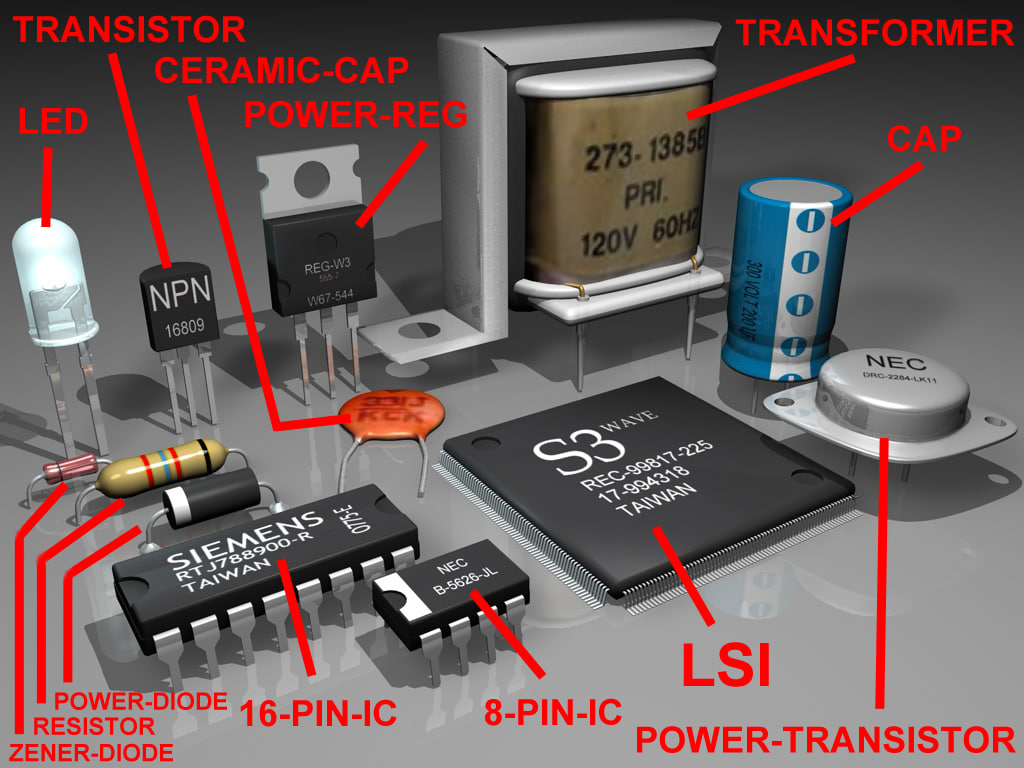component electronic 3d model