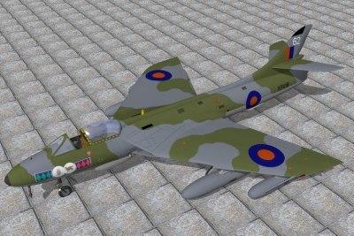 lwo hawker hunter jet fighters