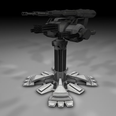 3d model defence turret