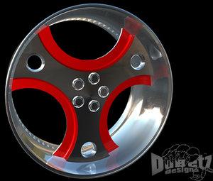 3d wheel 3 spoked model