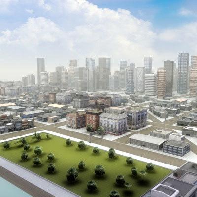 3ds max multi city environment skyscrapers