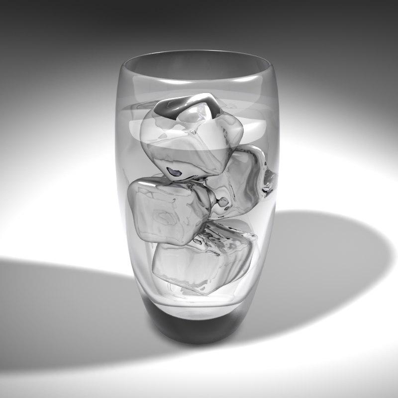 tumbler water ice cubes 3d lwo