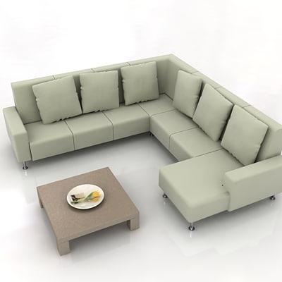 armchair sofa table 3d model