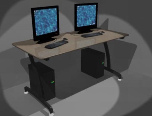 3d model computer desk library