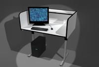 library computer desk 3d model