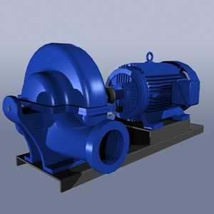 3d split case pump electric motor
