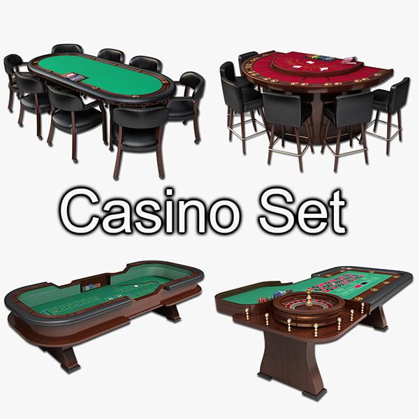 casino table blackjack roulette 3d model