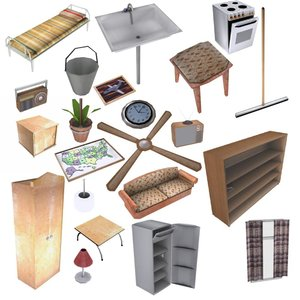 old-fashion interior set 25 3d 3ds