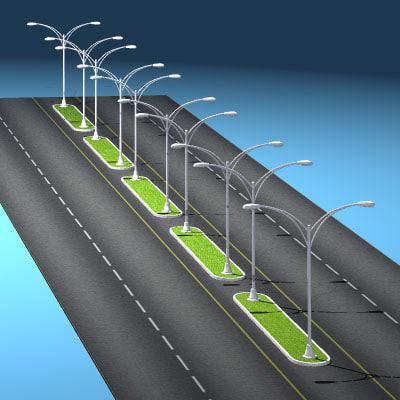 roads street lights 3d obj