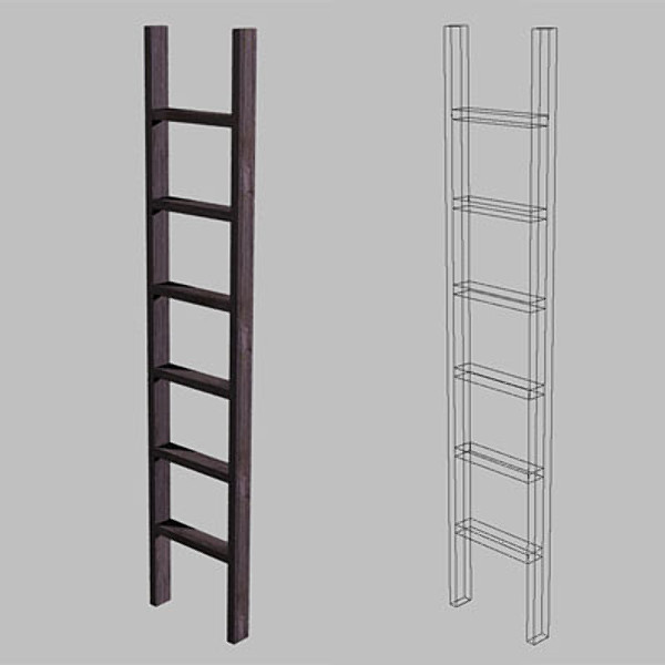 ladder polygons wood 3d 3ds