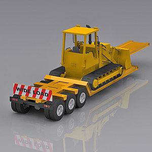 lowboy platform vehicle 3d model