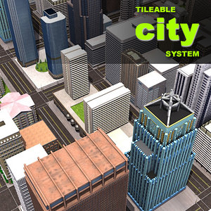 3d tileable city blocks buildings