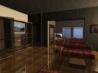 3d model of room bay interior