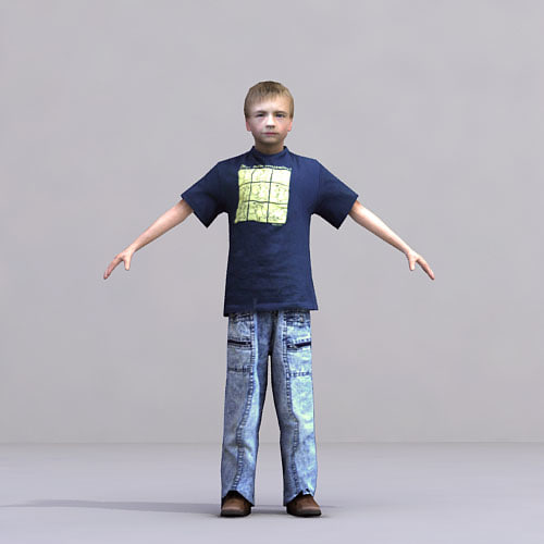 3d model of axyz characters rigged human