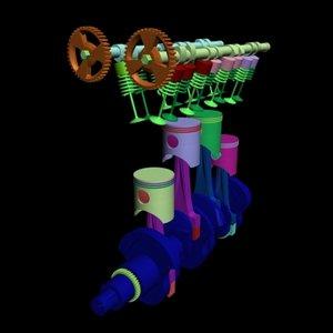 3d model valve twincam motor piston
