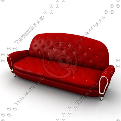 red leather sofa 3d model