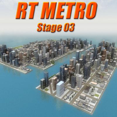 3d model multi city environment skyscrapers