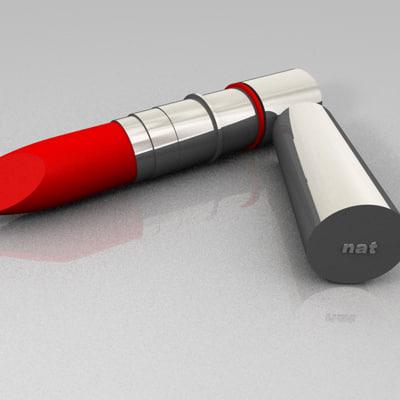 red lipstick 3d c4d