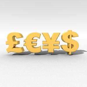 obj symbols dollar euro