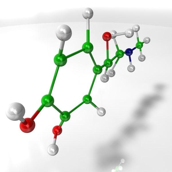 adrenaline molecular 3d model