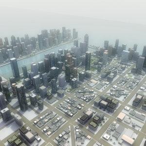 3d city environment skyscrapers buildings model