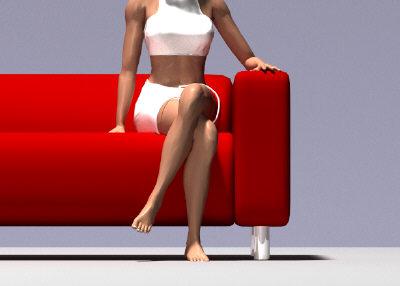 3d model red sofa