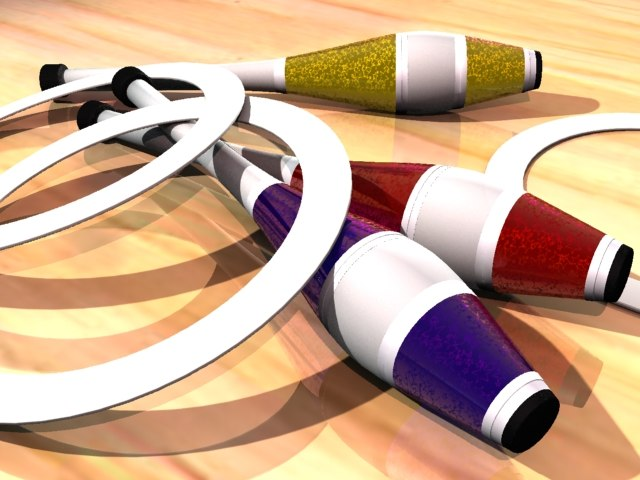 juggling clubs rings 3d max