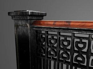 3d model of railing stair banister