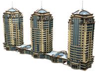 3d skyscraper town building